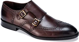 Jack Martin - Handmade - Brown Burnished Leather Double Monk Strap Shoes
