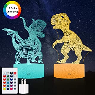Dinosaur Night Light Kids Toys, Dimmable 3D LED Lamp Nightlight,16 Colors Smart Touch& Updated Remote Control, Dinosaur Toys Birthday Party for 2 3 4 5 6+ Years Old Girls Boys