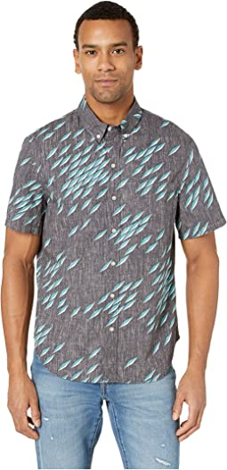 Fish Swarm Storm Tailored Fit Hawaiian Shirt
