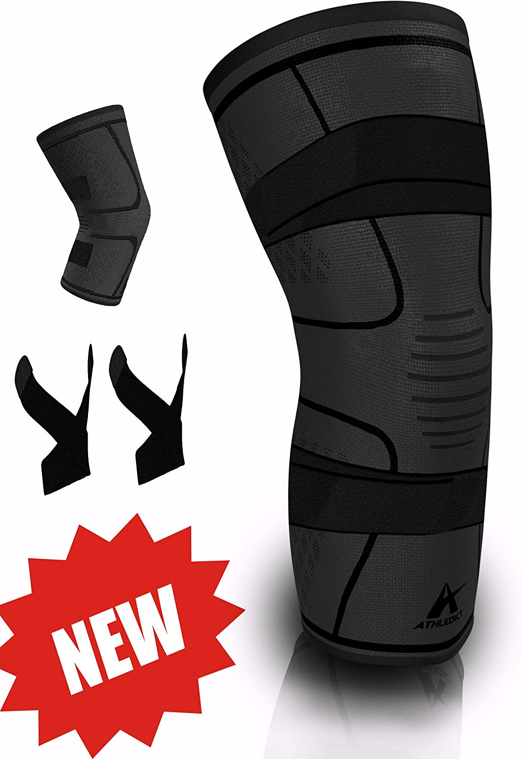 ATHLEDICT Knee Brace Compression Super-cheap Sleeve Support with 2 Removable Time sale