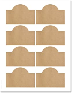 Textured Brown Kraft Arched Wine Bottle Labels, 3.5 x 2.4 inches, with Downloadable Template and Printing Instructions, 5 Sheets, 40 Labels (WB35)