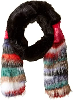 Mixed Patch Faux Fur Stole with Striped Ends