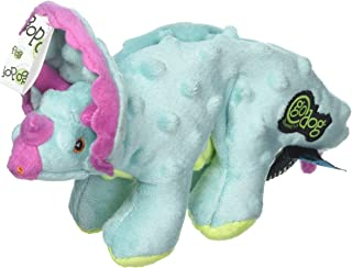 goDog Dinos Triceratops with Chew Guard Technology Plush Squeaker Dog Toy, Small, Teal
