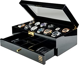 HAWK & GABLE Pearson Valet Watch Display Case with Jewelry and Accessories Valet | Premium Jewelry and Watch Box with Draw...