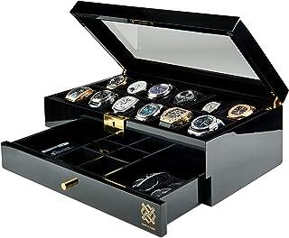 حافظة عرض ساعة بيرسون من HAWK &GABLE Pearson مزودة بالمجوهرات والأكسسوارات، علبة مجوهرات فاخرة وساعة مع درج، وغطاء زجاجي، ...