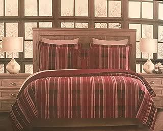 Canton Post 双面 4 件套法兰绒中号双人床被子套装亮红色,黑色,白色格子十字绣图案 √ 红色带鹿装饰枕头 - * 纯棉