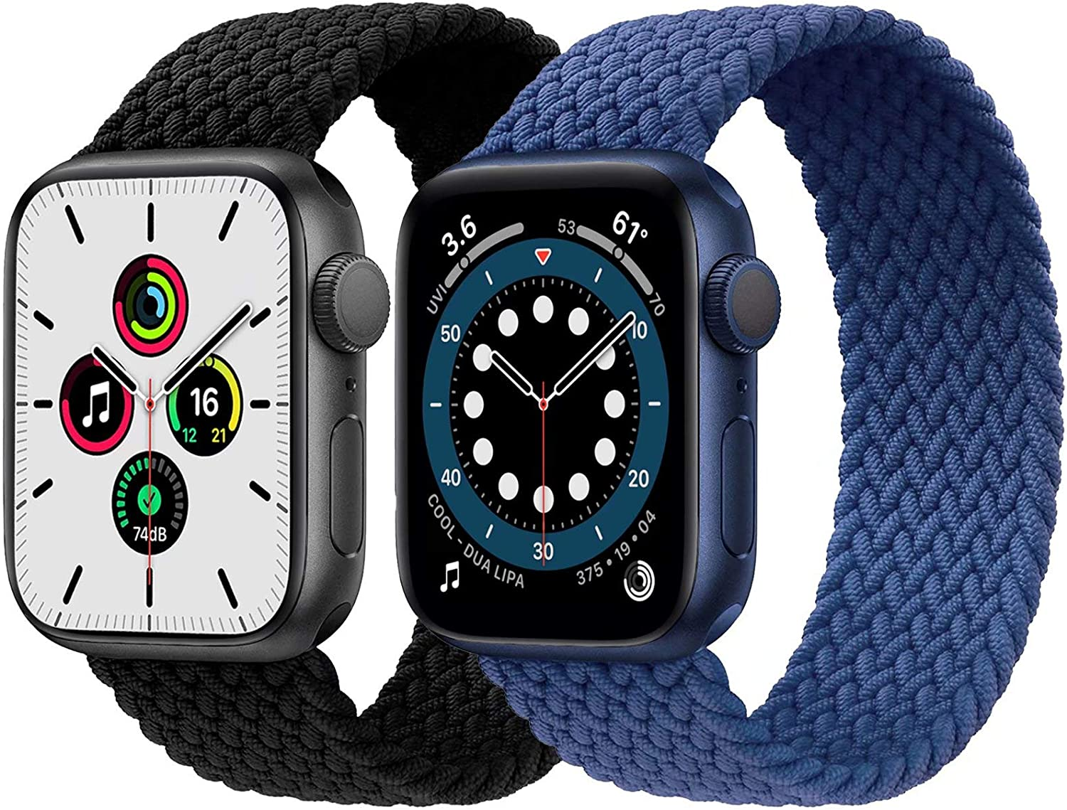 2-Pack Solo Loop Strap Compatible with Apple Watch Band 38mm 40mm,No Clasps No Buckles Stretchable Braided Sport Elastics Replacement Wristband for iWatch Series 6/5/4/3/2/1,SE,Black&Blue,6#