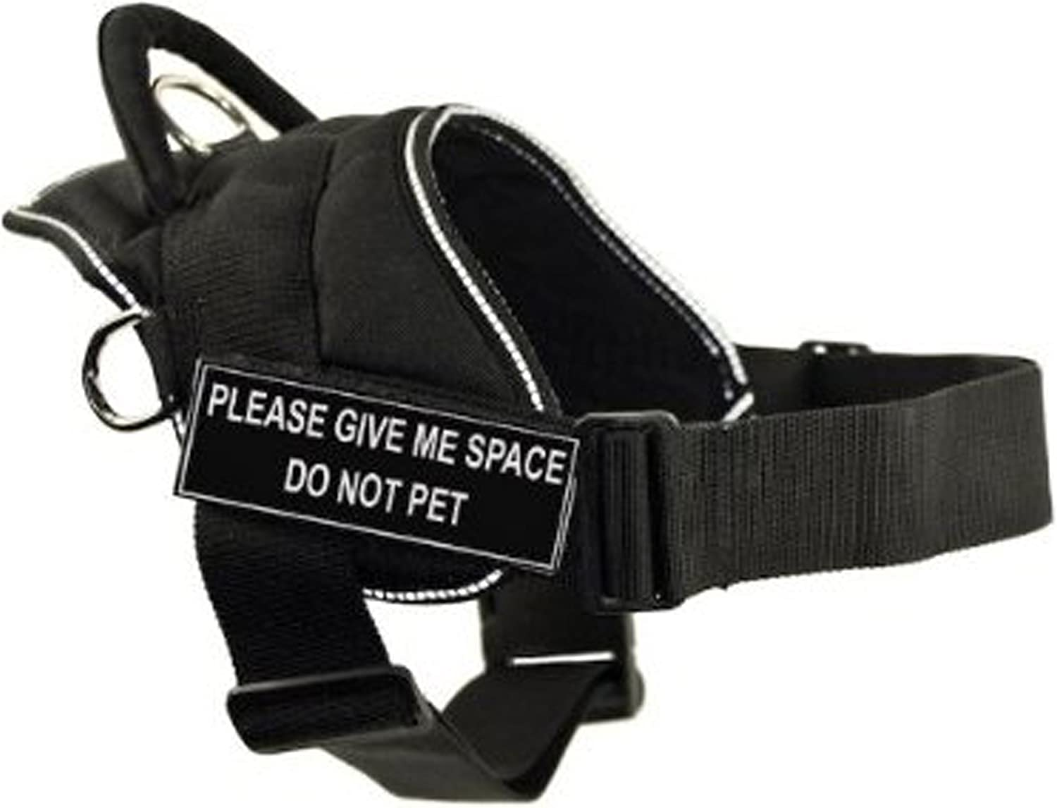 Dean & Tyler DT Fun Works Harness, Please Give Me Space Do Not Pet, Black With Reflective Trim, XSmall  Fits Girth Size  20Inch to 23Inch