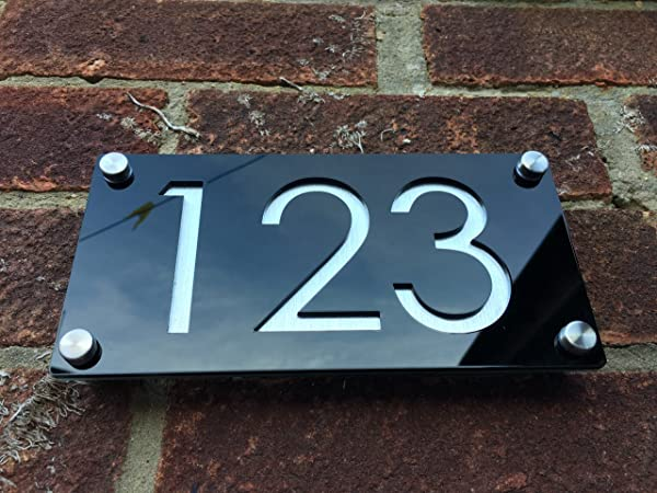 Modern House Numbers Aluminium Effect With Black Acrylic Contemporary Home Address Sign Plaque Door Number