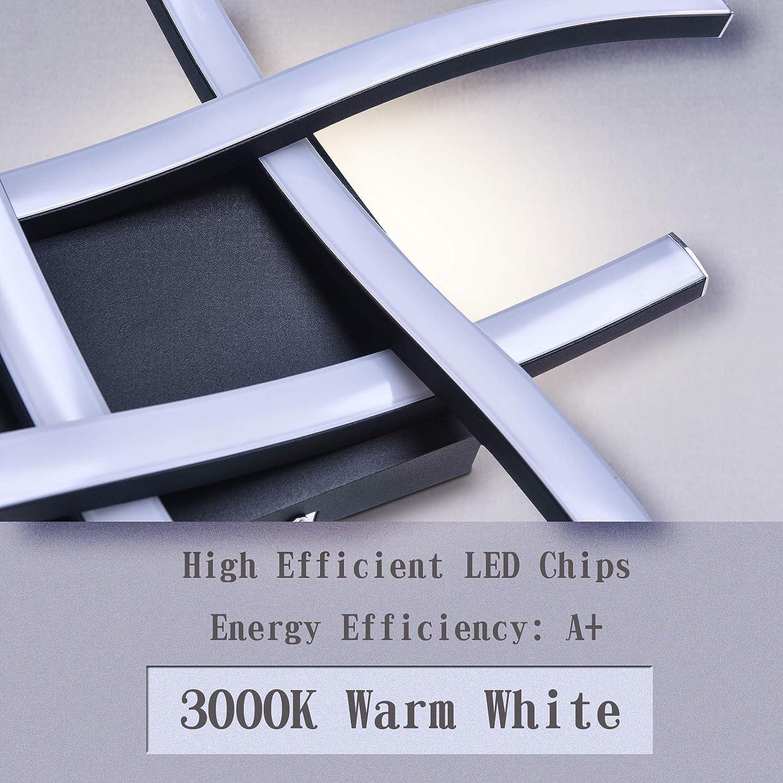 HUOKU Gebogene LED-Deckenleuchte 4 LED-Platinen 3000K Warmwei/ße Deckenleuchte f/ür 24W 1667Lm Modernes Design Flush-Deckenleuchte f/ür Schlafzimmer Wohnzimmer Flur und K/üche Nickel geb/ürstet
