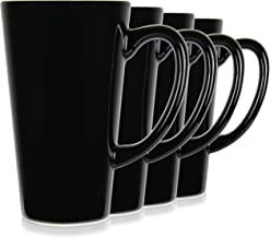 Serami Black Funnel Ceramic Tall Coffee Mugs with Large Handles and 15oz Capacity, Set of 4
