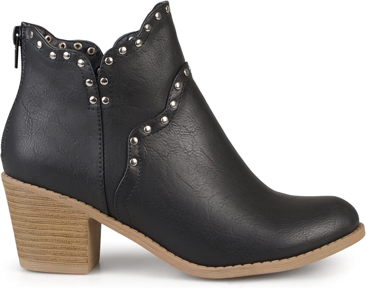 Brinley Co. Womens Faux Leather Stacked Heel Studded Boots