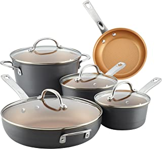 Ayesha Curry 80085 Home Collection Hard Anodized Nonstick Cookware Pots and Pans Set, 9 Piece, Charcoal Gray