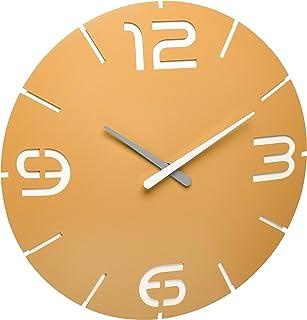 TFA Dostmann Contour 60.3536.07 Reloj de Pared con Radio, con números y marcadores de Hora, Amarillo, diámetro 350 x Altur...
