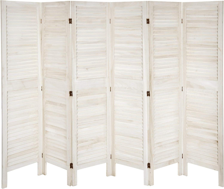 Oriental Furniture 5 1/2 ft. Tall Modern Venetian Room Divider - 6 Panels - White