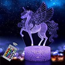 Unicorn Night Light for Kids, 3D Illusion Lamp 16 Colors Changing with Remote, Birthday and Holiday Gift for Children Girl...
