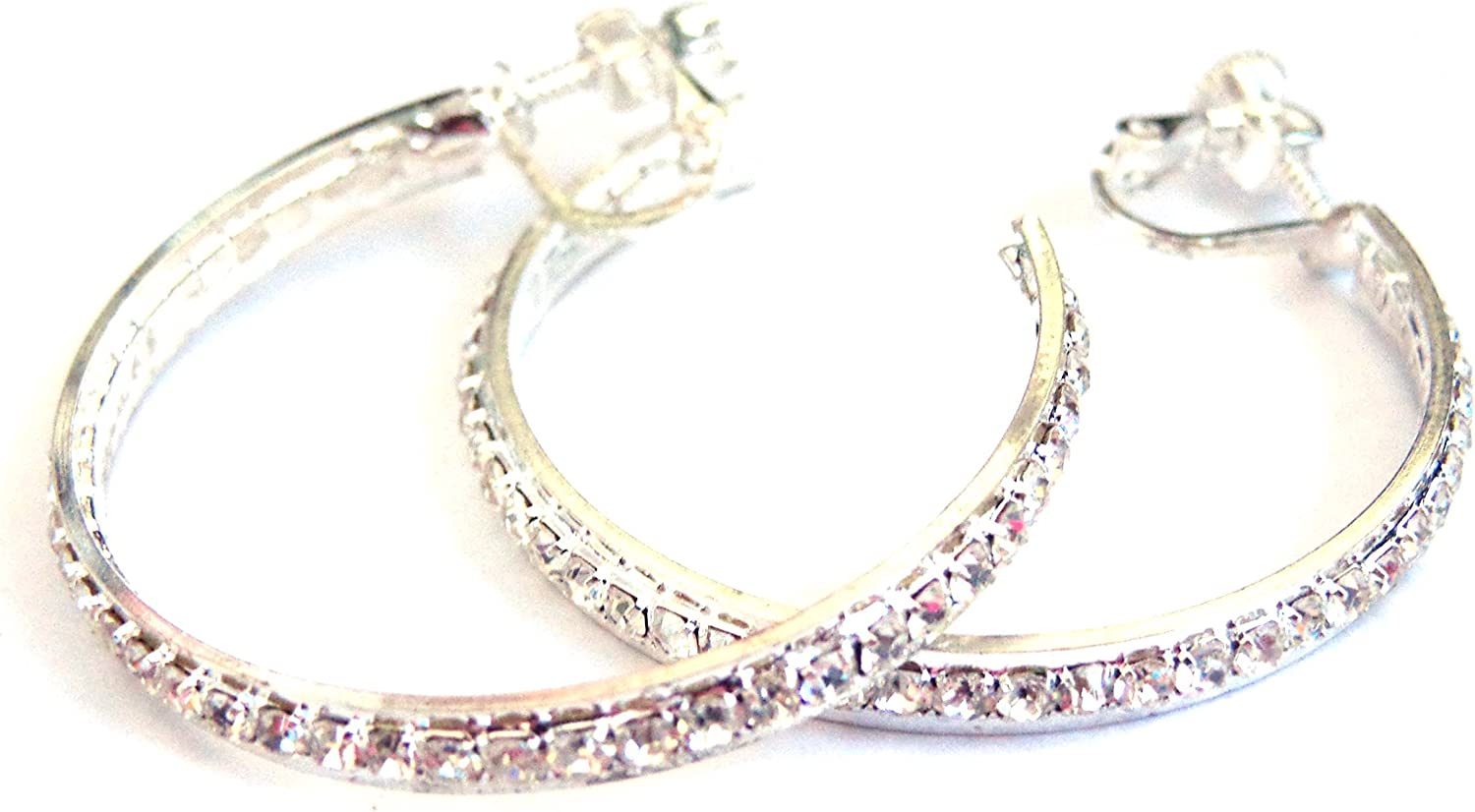 Clip on Earrings Silver Special sale item Tone Hoop Crystal 1.5 Rhinestone Lined Inventory cleanup selling sale i