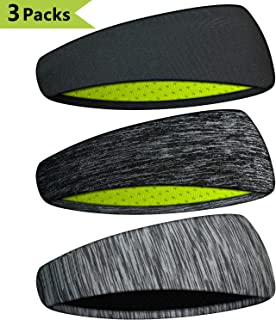 Extrafit Headbands for Men & Women, Mens Headband 3 Packs Guys Sweatband & Sports Headband for Running, Fitness, Yoga, Workout, Gym, Performance Stretch & Moisture Wicking