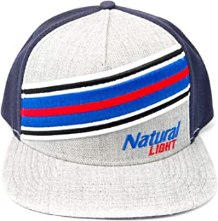H3 SPORTGEAR Natural Light Flat Bill Hat - Heather & Navy Snapback with Embroidered Logo