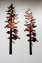 "Two Pine Trees Metal Wall Art Decor 10"" & 12"""