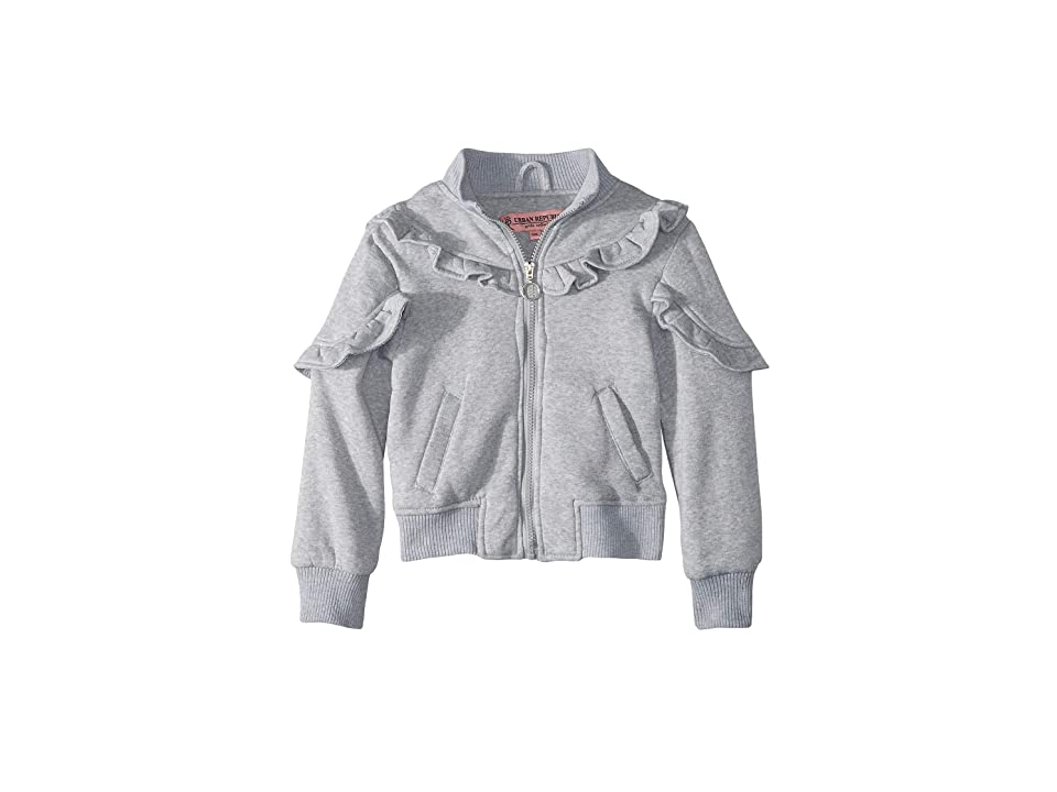 Urban Republic Kids Selena Fleece Bomber Jacket w/ Ruffles (Little Kids/Big Kids) (Grey) Girl