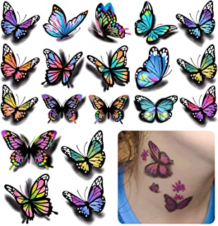 126Pcs Butterfly Tattoo Sticker 3D Tembal Tattoo Decal، Butterfly and Flower Removable Decal Waterproof، Tattoo Fake for Women Girls Girls