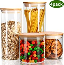 YULEER Airtight Food Storage Containers, Glass Jars with Lids,Glass Jar for Serving Candy, Cookie, Rice,Food - Set of 4
