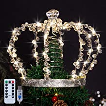 LAWOHO Christmas Tree Topper Star,Jeweled Crown with 60 Warm White LED USB Lighted Tree Topper,Xmax Tree Decor with Remote...