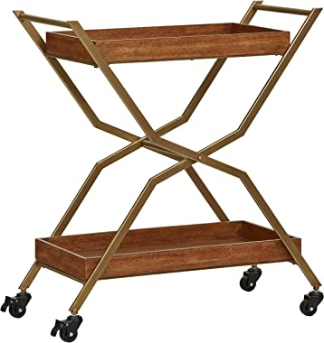 "Stone & Beam Modern Serving Cart 34.28""H, Bronze, Walnut"