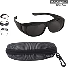 Polarized Wear Over Sunglasses - Cover For Regular Eye Glasses and Prescription Glasses To Reduce Glare - Lightweight - Comfortable - Men and Women Adult Size - Best For Bike Riding