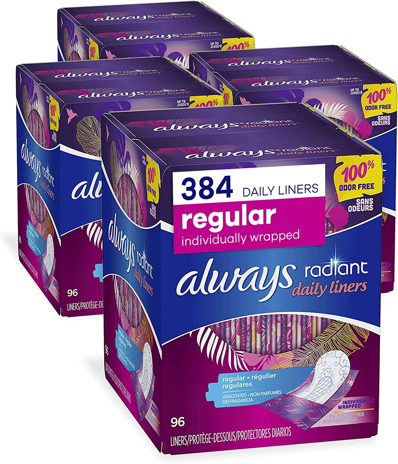 Always Radiant Daily Feminine Panty Liners for Women, Regular Absorbency, Unscented, Wrapped, 96X4, 384 Count (Pack of 4): Health & Personal Care