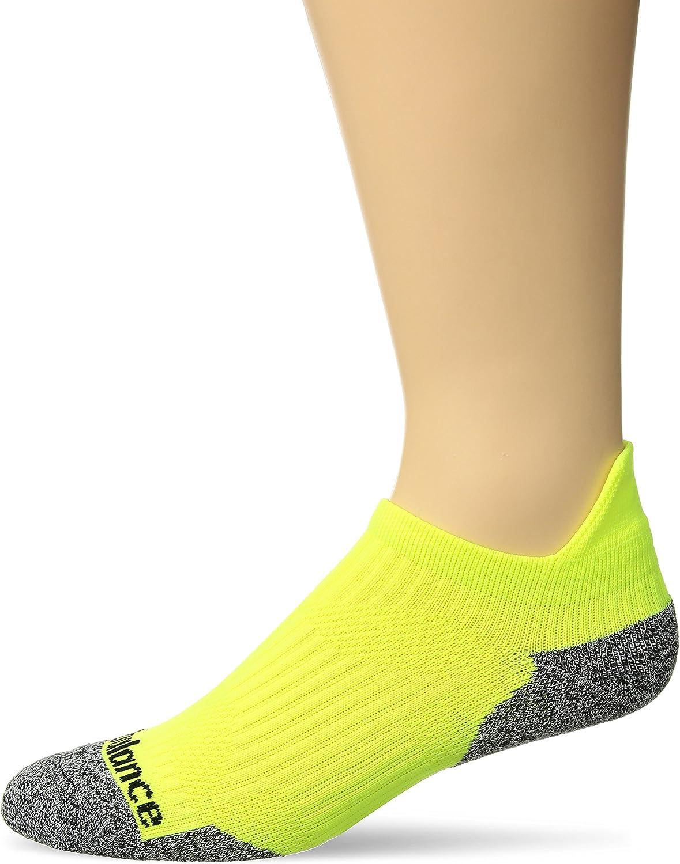 New Balance Cushioned Running No Show Tab Socks (1 Pair), Yellow/Grey, Small