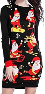 Ugly Christmas Sweater for Women Vintage Funny Merry Knit Sweaters Dress