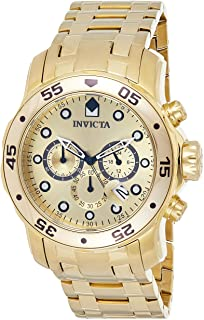 Invicta Men's Pro Diver Japanese Quartz Watch with Gold-Plated-Stainless-Steel Strap, 19 (Model: 0074)