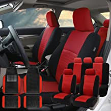 FH Group FH-FB060115 Trendy Elegance Car Seat Covers, Airbag Compatible and Split Bench, Red/Black Color w. Premium Carpet Black Floor Mats- Fit Most Car, Truck, SUV, or Van