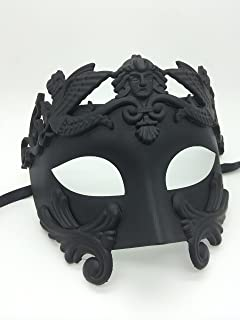1 X New Roman Egyptian Men's Mask Ancient Greek Mardi Gras Venetian All Black Mask Halloween Ball Masquerade Mask