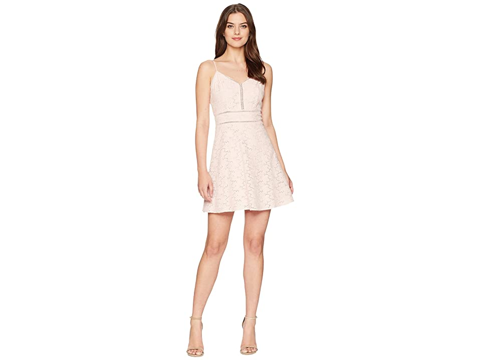 J.O.A. Sleeveless Fit Flare Mono Dress (Pink Lace) Women