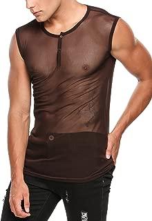 Men's Sexy See Through T Shirt Mesh Henley Shirt Deep V Neck Undershirts Long Sleeve Clubwear