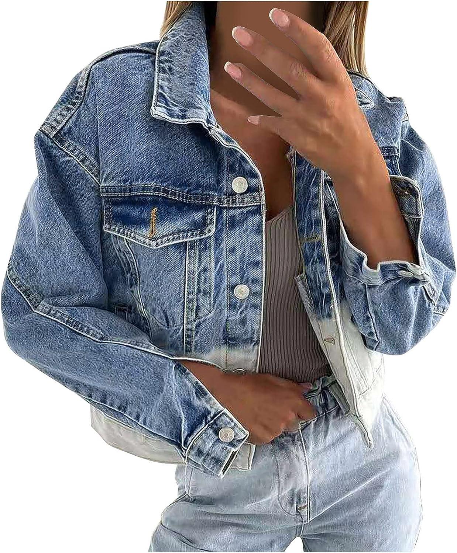 Sunmaote Fashion Women Denim Jacket Casual Long Sleeve Tops Outcoat Pockets Jean Outwear