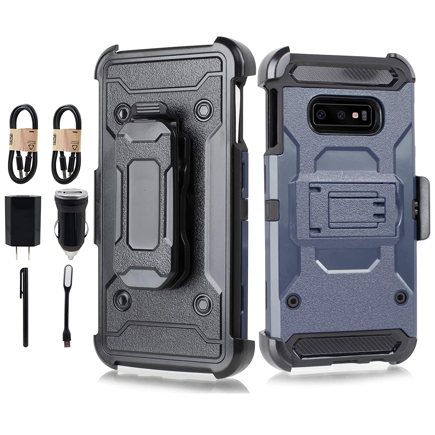 Galaxy S10e Case S10 Lite Case, Hybrid Shockproof Heavy Duty Rugged Protective Cover with Kickstand and Belt Clip Holster for Samsung Galaxy S10e / S10 Lite 5.8 inch [Accessory Bundle] (Navy)