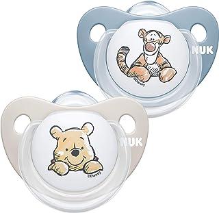 NUK Trendline Schnuller | 0-6 Monate | BPA-freier Schnuller aus Silikon | Disney Winnie Puuh | Blau Junge | 2 Stück