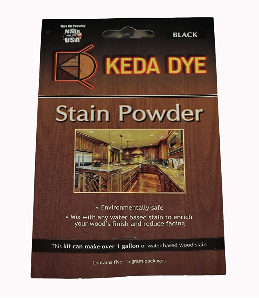 Black Dye - Keda Coal Black Powder Wood Dye 25 Grams Makes 1 Gallon Black Stain Color