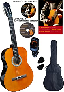 Clifton - Set de guitarra de concierto de 4/4 (libro en alemán, CD, DVD, afinador, plectren, funda acolchada)