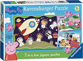Ravensburger Space Rocket Peppa Pig 3 in a Box Jigsaw Puzzle Pack Ages 3+