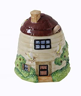 Creative Co-Op 3 Piece Beehive Home Shaped Ceramic Honey Pot with Wood Dipper
