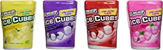 Ice Breakers Ice Cubes Sugar Free Gum Collection of Four [ Cool Lemon , Artic Grape , Strawberry Smothie , Bubble Brezze ] ( 4 of 40 Pieces )