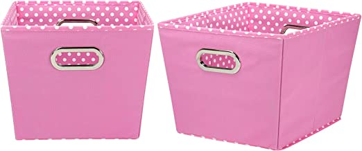 Household Essentials 92-1 Medium Tapered Decorative Storage Bins   2 Pack Set Cubby Baskets Pink and White Mini-Dots