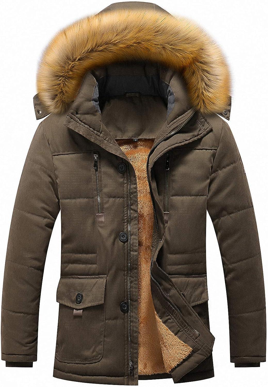 CYVVV Mens Winter Jacket Coat Warm Faux Fur Hooded Parka Multi-Pocket Detachable Hoode Cap Collar