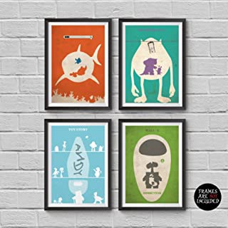 Disney and Pixar Animations Minimalist Poster Set 4 Disney Pixar Alternative Movie Print Finding Nemo Monsters Inc Wall E Toy Story 123 Home Decor Illustration Cinema Artwork Wall Hanging Cool Gift