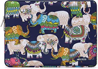 MOSISO Polyester Vertical Style Water Repellent Laptop Sleeve Case Bag Cover with Pocket Multicoloured Elephant Navy Blue Base 13-13.3 Inch